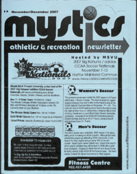 Mystics Athletics and Recreation Newsletter: November and December 2007